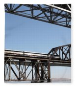 Amtrak Train Riding Atop The Benicia-martinez Train Bridge In California - 5d18835 Fleece Blanket