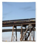 Amtrak Train Riding Atop The Benicia-martinez Train Bridge In California - 5d18839 Fleece Blanket