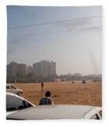 An Almost Empty Parking Lot At Surajkand Fair In India Fleece Blanket