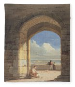 An Arch At Holy Island - Northumberland Fleece Blanket