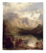 An Extensive Alpine Lake Landscape Fleece Blanket