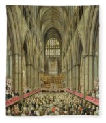 An Interior View Of Westminster Abbey On The Commemoration Of Handel's Centenary Fleece Blanket