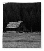 An Old Barn In Black And White Fleece Blanket