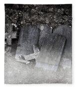 An Old Cemetery With Grave Stones And Fog Fleece Blanket