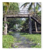 An Old Stone Bridge Over A Canal In Alleppey Fleece Blanket