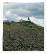 An Old Temple Building On Top Of A Hill With A Lot Of Clouds In The Sky Fleece Blanket