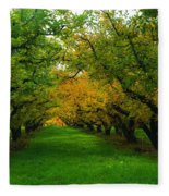 An Orchard Row  Fleece Blanket
