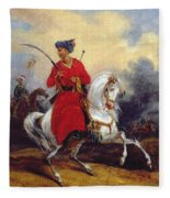 An Ottoman On Horseback Fleece Blanket