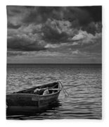 Anchored Row Boat Looking Out To Sea Fleece Blanket