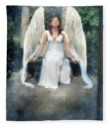 Angel On Stone Bench Looking Up Into The Light Fleece Blanket