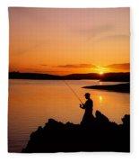 Angler At Sunset, Roaring Water Bay, Co Fleece Blanket