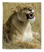 Angry Lioness Fleece Blanket