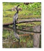 Anhinga And Reflection Fleece Blanket