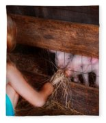 Animal - Pig - Feeding Piglets  Fleece Blanket
