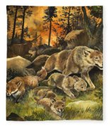 Animals United In Terror As They Flee From A Forest Fire Fleece Blanket