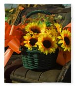 Antique Buggy And Sunflowers Fleece Blanket