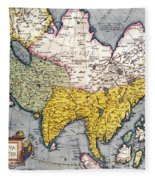 Antique Map Of Asia Fleece Blanket