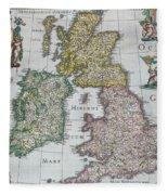 Antique Map Of Britain Fleece Blanket