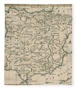 Antique Map Of Spain Fleece Blanket