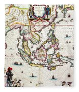 Antique Map Showing Southeast Asia And The East Indies Fleece Blanket
