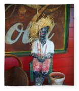 Antique Plaster Black Child Fisherman With Coca Cola Background Fleece Blanket