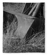 Antique Tractor Bucket In Black And White Fleece Blanket