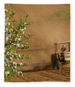 Apple Blossoms And Farmer On Tractor Fleece Blanket