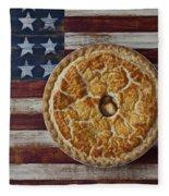 Apple Pie On Folk Art  American Flag Fleece Blanket by Garry Gay