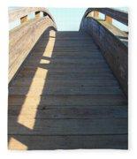 Arched Pedestrian Bridge At Martinez Regional Shoreline Park In Martinez California . 7d10525 Fleece Blanket