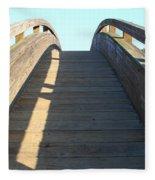 Arched Pedestrian Bridge At Martinez Regional Shoreline Park In Martinez California . 7d10526 Fleece Blanket