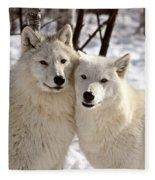 Arctic Wolves Close Together In Winter Fleece Blanket