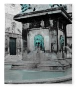 Arles Fountain With A Spot Of Color Fleece Blanket