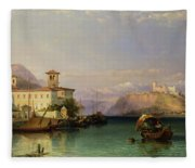 Arona And The Castle Of Angera Lake Maggiore Fleece Blanket