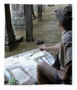 Artist At Ankor Wat Fleece Blanket