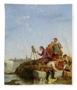 Artist At His Easel And Shipping Beyond Fleece Blanket