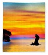 Artistic Conception Eagle Sundown Fleece Blanket