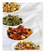 Assorted Herbal Wellness Dry Tea In Spoons Fleece Blanket