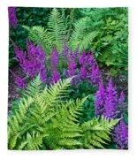 Astilbe And Ferns Fleece Blanket