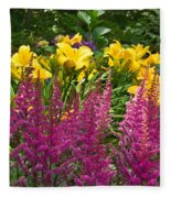 Astilbe And Lilies Fleece Blanket