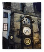 Astronomical Clock At Night Fleece Blanket
