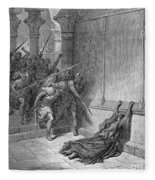 Athaliah (d. 836 B.c.). /nqueen Of Judah, C842-836 B.c. The Death Of Athaliah (ii Chronicles 22:10, 23:15). Wood Engraving, 19th Century, After Gustave Dor� Fleece Blanket