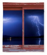 August Storm Red Barn Picture Window Frame Photo Art View Fleece Blanket
