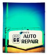 Auto Repair Sign On Route 66 Fleece Blanket