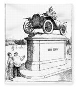 Automobile Cartoon, 1914 Fleece Blanket