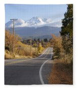 Autumn And Mt Shasta Down The Road Fleece Blanket