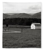 Autumn Barn In Green Bank Wv Bw Fleece Blanket