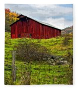 Autumn Barn Painted Fleece Blanket