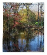 Autumn Colors On The Pond  Fleece Blanket
