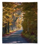 Autumn Country Road - Oil Fleece Blanket