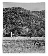 Autumn Farm Monochrome Fleece Blanket